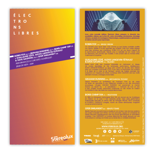 Stereolux Electrons libres 2018 - flyer